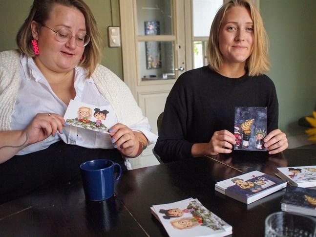 """""""Maggan året runt"""" är den andra barnboken som Ellen Strömberg och Elin Löf ger ut tillsammans. På vykorten syns illustrationer från boken."""