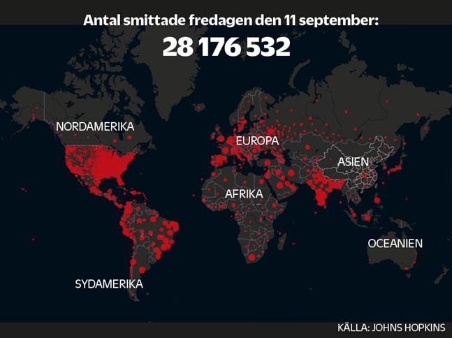 De röda prickarna visar hur många bekräftade fall av covid-19 som rapporterats.