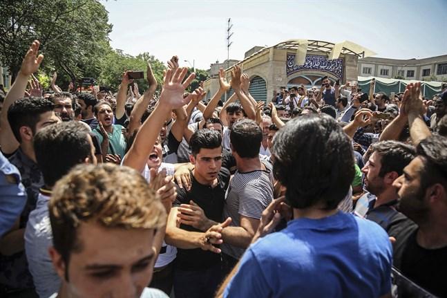 Den regimkritiska demonstration 2018 som brottaren Navid Afkari greps i samband med. Arkivbild.