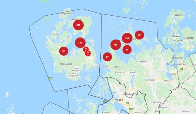 Vasa elnäts avbrottskarta klockan 18.52 på onsdagen.
