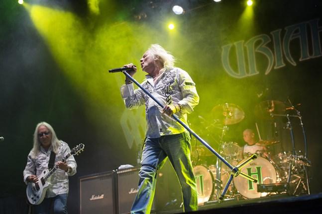 Uriah Heeps forne trumslagare Lee Kerslake är död. Här uppträder bandet på musikfestivalen Sweden Rock 2014, med Kerslakes efterträdare Russell Gilbrook på trummor. Arkivbild.