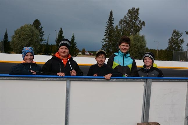 William Berg, Elias Högback, Lucas Gästgivars, Matvej Ustimenko och Elias Berg är glada över den nya, mångsidiga rinken.