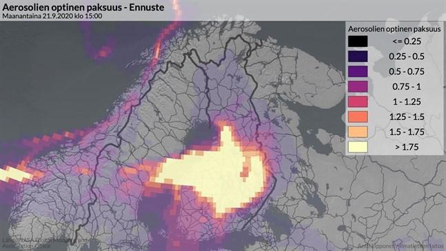 Nasas uppskattning över hur rökmolnen från skogsbränderna i USA rör sig över Finland på måndag 21.9 klockan 15.00.