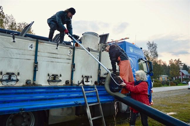 Kyösti Nousiainen från NTM-centralen (högst upp) och Birthe Wistbacka kontrollerar att siken är i bra skick och vid liv. Harri Vääräniemi har hand om utplanteringen.