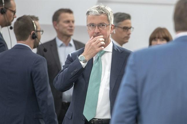 Rupert Stadler på ett aktieägarmöte våren 2018, bara någon månad innan han greps.