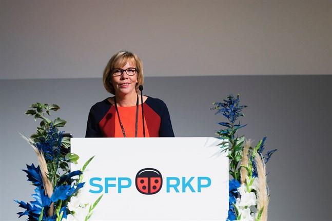 Anna-Maja Henriksson på SFP:s partidag i Vanda 2020.