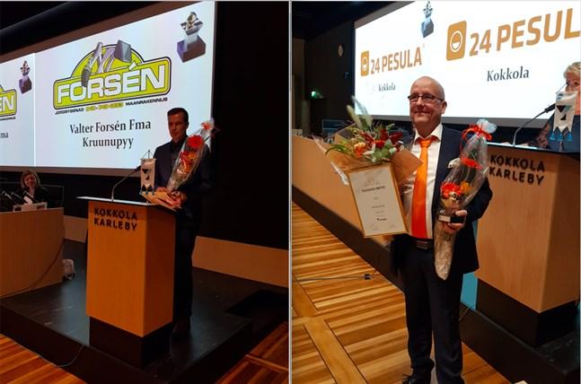 Valter Forsén (Fma Valter Forsén) och Asko Nevala (24 Pesula) tog emot utmärkelser av Mellersta Österbottens Företagare.