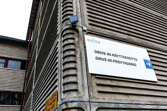 Arkivbild: Drive-in provtagningen vid MÖCS i Karleby.