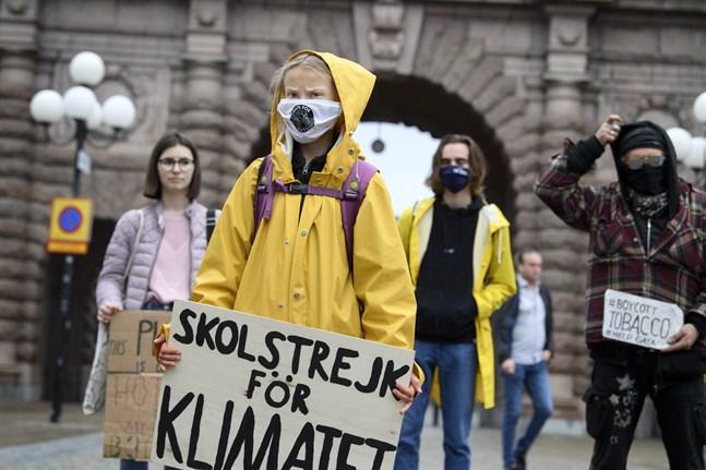 Greta Thunberg i fredagens manifestation med Fridays for future på Mynttorget i Stockholm. I över två år har hon drivit kampanjen där.