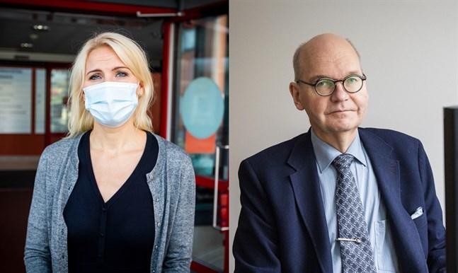 Sjukvårdsdistriktets direktör Marina Kinnunen och Vasas ledande överläkare Heikki Kaukoranta.