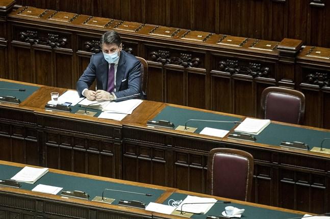 Italiens premiärminister Giuseppe Conte under ett sammanträde tidigare i veckan.