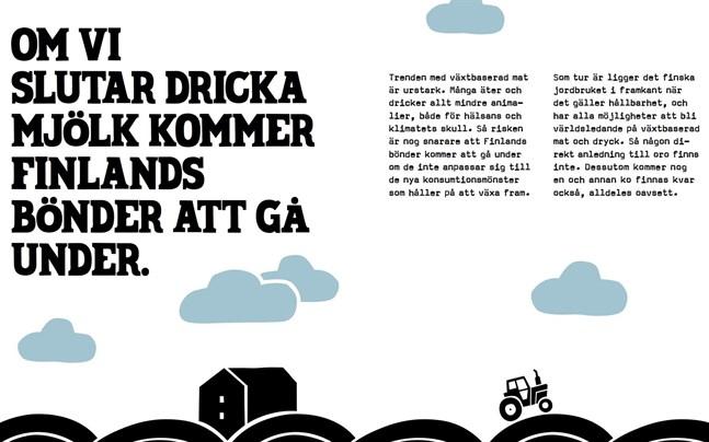 """Ett kapitel i Oatlys reklambok """"Mjölkmyter – stämmer allt du fått lära dig om mjölk?""""."""