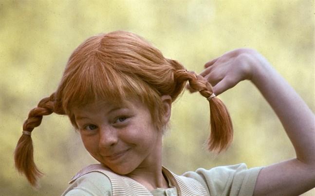 Barnskådespelaren Inger Nilsson i rollen som Pippi Långstrump – flickhjälten som nu fyller 75 år.