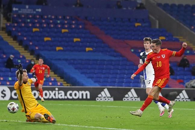 Harry Wilson gjorde Wales första mål i matchen mot Finland.
