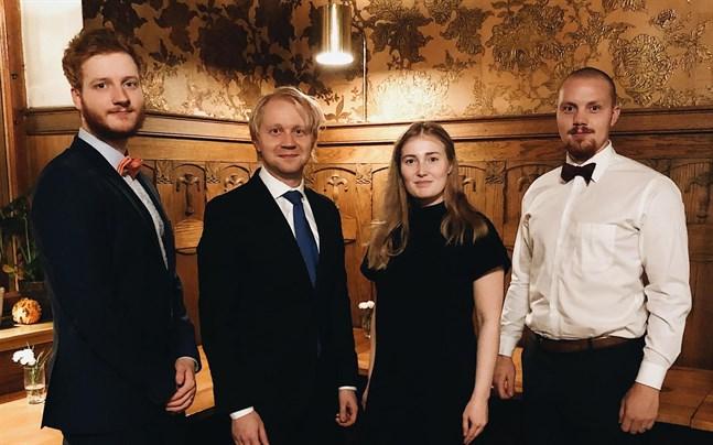 Mikael Plomp (ordförande 2021, Jesse Räsänen, Ami Rinta-Valkama (ordförande 2020) och Leo Byskata.