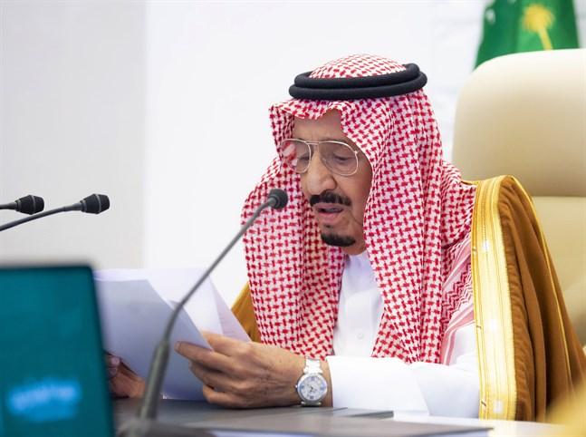 Saudiarabiens kung Salman håller sitt öppningsanförande vid G20-mötet. Arkivbild.
