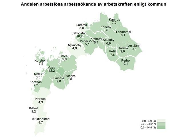 Närpes och Kristinestad bildar ett stort ljust område på NTM-centralens karta. Här är arbetslösheten fortfarande låg.
