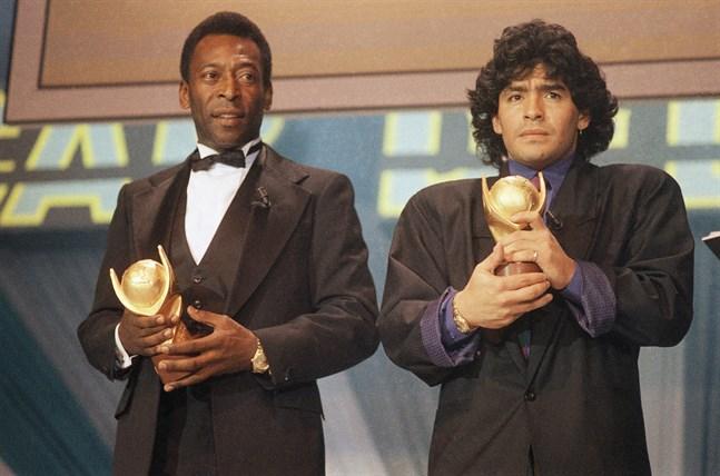 Pelé och Maradona. Arkivbild.