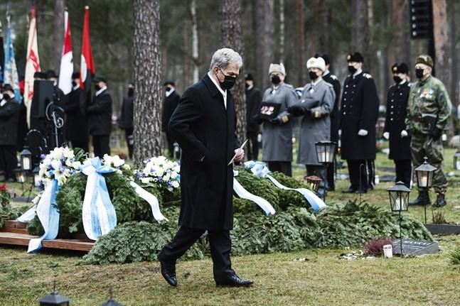 President Sauli Niinistö höll tal då Tuomas Gerdt, den sista av Mannerheimkorsets riddare, begravdes på lördagen.