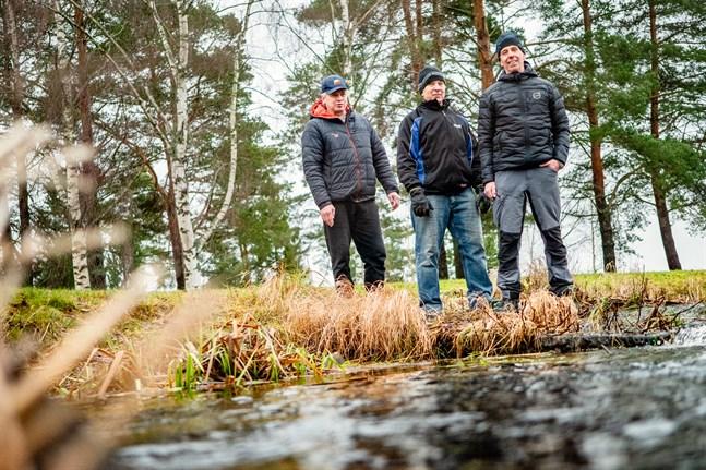 Helmer Ollqvist, Hans Sandström och Peter Högkvist jobbar aktivt för att Heimsjön också i fortsättningen ska vara Österbottens pärla.