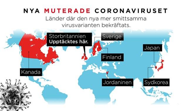 I de här länderna har den nya virusvarianten påträffats hittills.