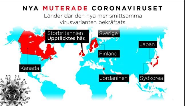 I de här länderna har den nya virusvarienten bekräftats.