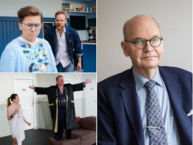 Simon Nystén och Mikael Gädda är vana att stå på scenen i pjäser som brukar ha premiär i januari. Nu övar de i väntan på nya rekommendationer. Ledande överläkare Heikki Kaukoranta tycker på ett personligt plan att restriktionerna drabbar kultursektorn orättvist.