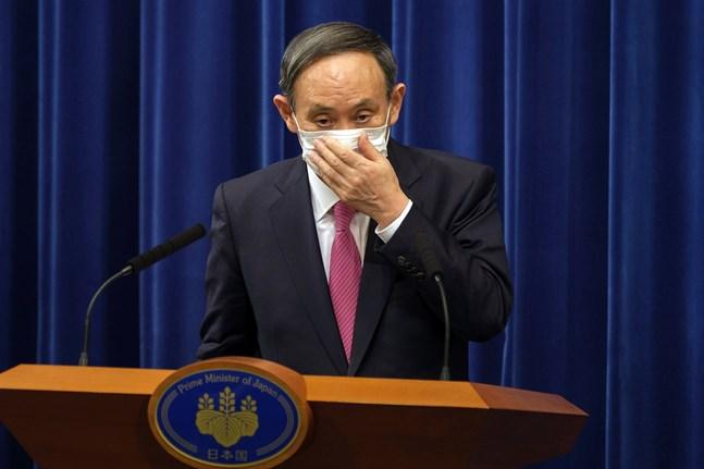 Japans premiärinister Yoshihide Suga, här på en presskonferens på juldagen i fjol.