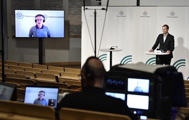 Statsepidemiolog Anders Tegnell närvarade på länk under tisdagens myndighetsgemensamma presskonferens.