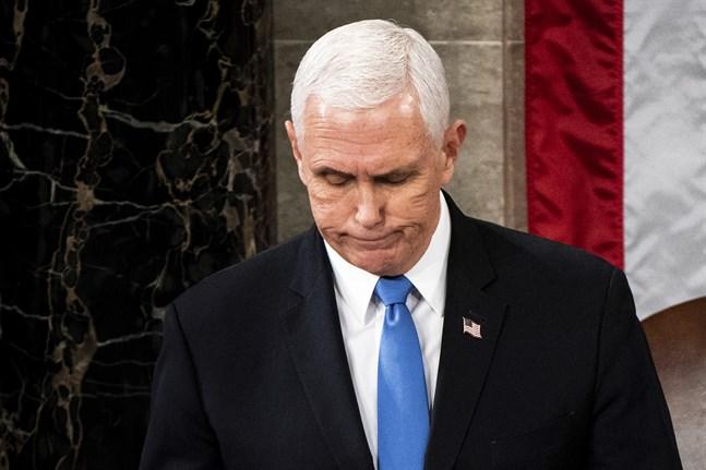 USA:s vicepresident Mike Pence sent på onsdagen i Kapitolium i Washingon.
