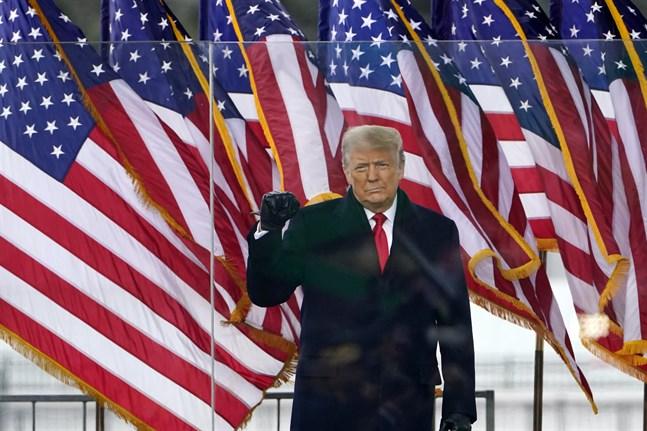 USA:s avgående president Donald Trump vid onsdagens massmöte i Washington DC.