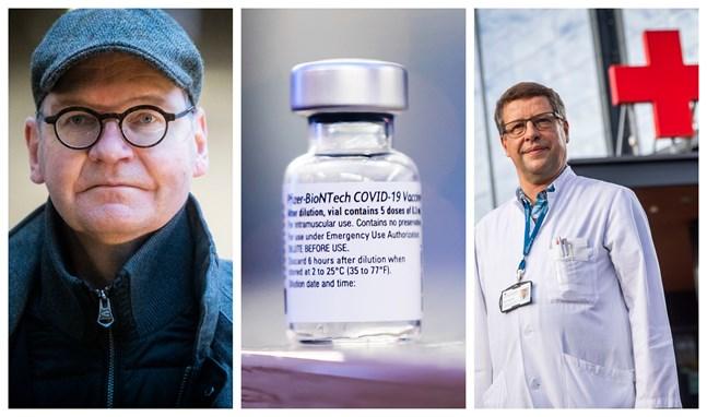 Vaccineringen är i gång i sjukvårdsdistriktet. Till vänster Vasa stads ledande överläkare Heikki Kaukoranta, till höger infektionsöverläkare Juha Salonen.