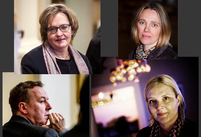 Anne Ekstrand, Katarina Donning, Kenneth Holmgård och Åsa Wallendahl tävlar om fullmäktigeledamöternas gunst i kampen om vem som ska bli Jakobstads stadsdirektör.