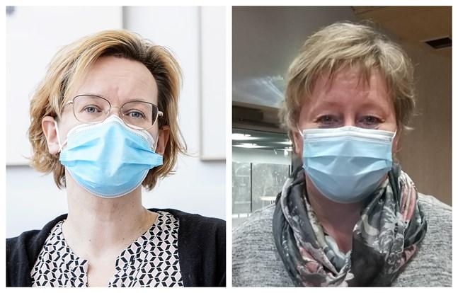 Chefsläkare Pia-Maria Sjöström på Malmska i Jakobstad och Karlebys stadsdirektör Stina Mattila lyfter båda på hatten för Soites arbete mot coronan.