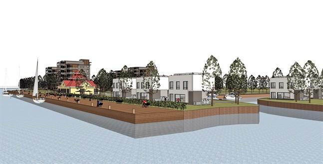 Arkitekten Mats Björklund och Harry Nygrens plan för inre hamnen hamnen innefattar höghus och egnahemshus samt nya båthamnar.