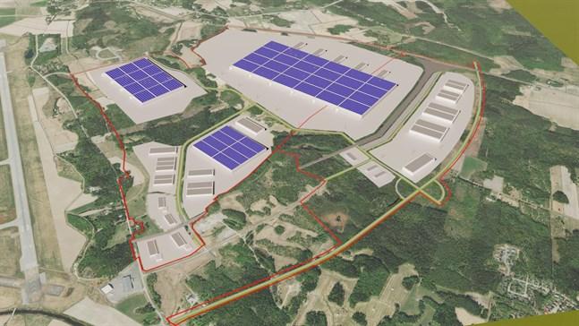 Skissen över Gigavasa-området tillåter tre riktigt stora fabriker.