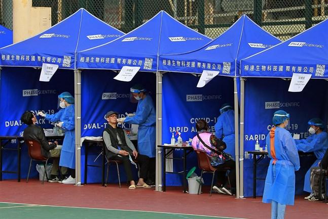 En tillfällig testmottagning i Hongkong. Bild från i onsdags.
