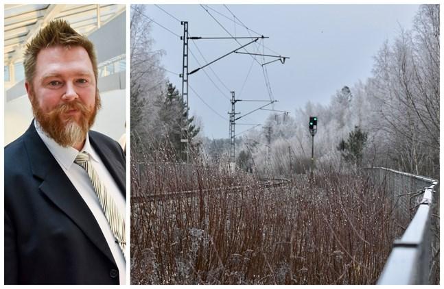 Tero Voldi, trafiksakkunnig vid Österbottens förbund, säger att ett bättre tågnät både gynnar pendlarna och miljön.