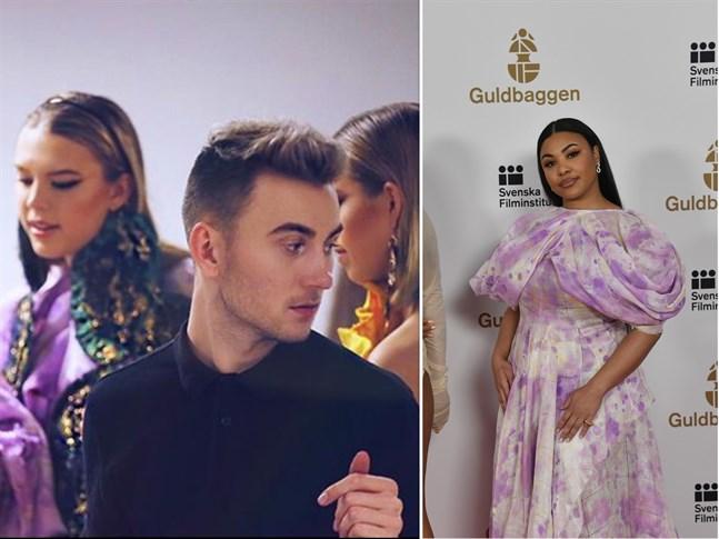 Robin Söderholm har designat klänningen till höger som bärs av Fanna Ndow Norrby som var på Guldbaggegalan.