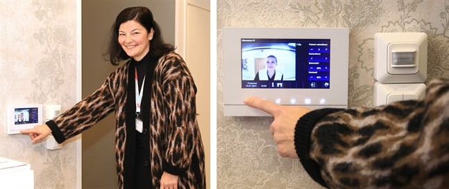 Via kameran vid ringklockan och kontrollpanelen kan den boende se vem som ringer på och även kommunicera med denne, visar Maria Haavisto, ABB.