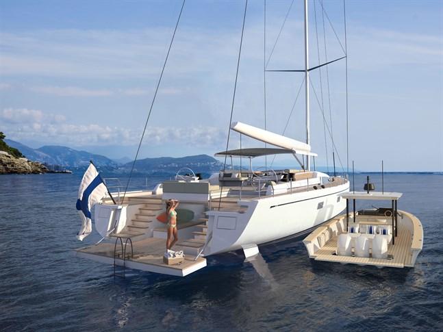 En skugga som följer segelbåten och fungerar som båt för transporter vid en regatta är en av funktionerna bakom Swan Shadow.