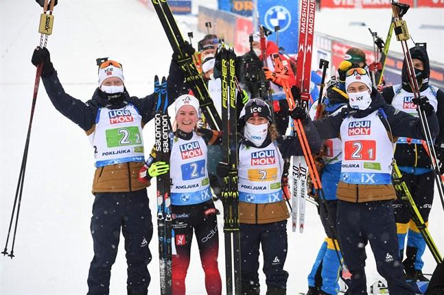 Johannes Thingnes Bø, Marte Olsbu Røiseland, Tiril Eckhoff och Sturla Holm Lägreid kammade hem det första mästerskapet i skidskytte-VM.