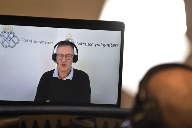 Anders Tegnell, statsepidemiolog, Folkhälsomyndigheten, under torsdagens didgitala myndighetsgemensamma pressträff om coronapandemin.