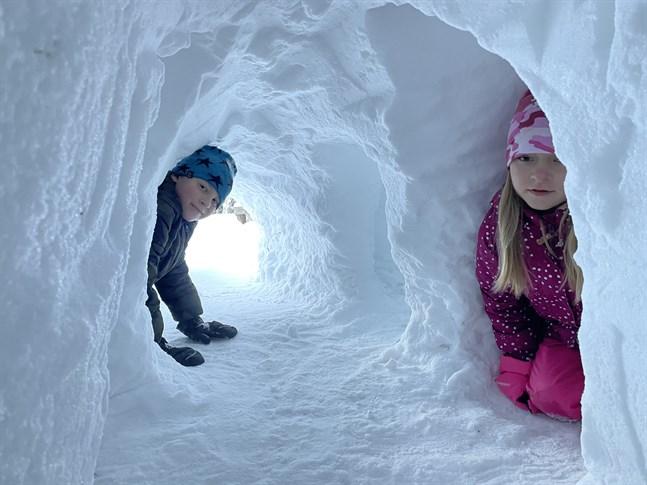 Kasper, Amelie och Jasmine Berg har byggt ett snöhotell tillsammans med pappa Johannes.
