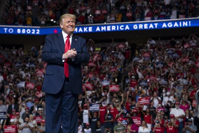 USA:s dåvarande president Donald Trump i Oklahoma sommaren 2020.