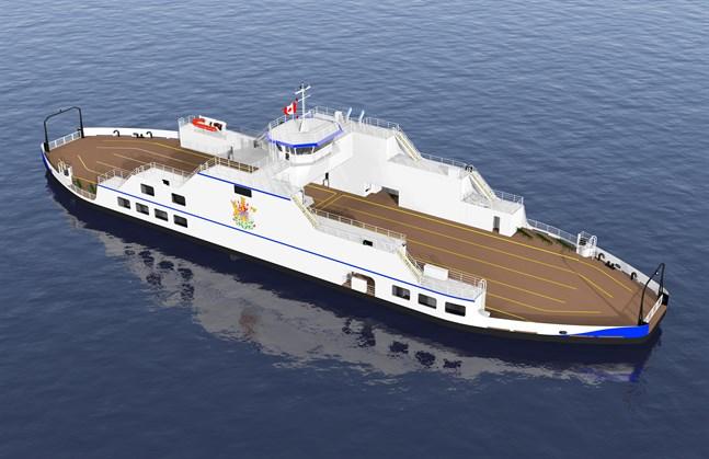 Fartyget tar drygt 60 personbilar som kan köras ombord från två håll.