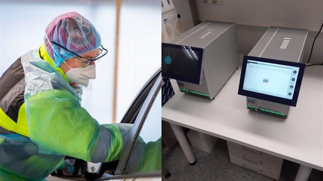 Två maskiner för snabbtester av coronaprover finns redan i Vasa (till höger) men de kommer att utökas till totalt fyra i Österbotten.