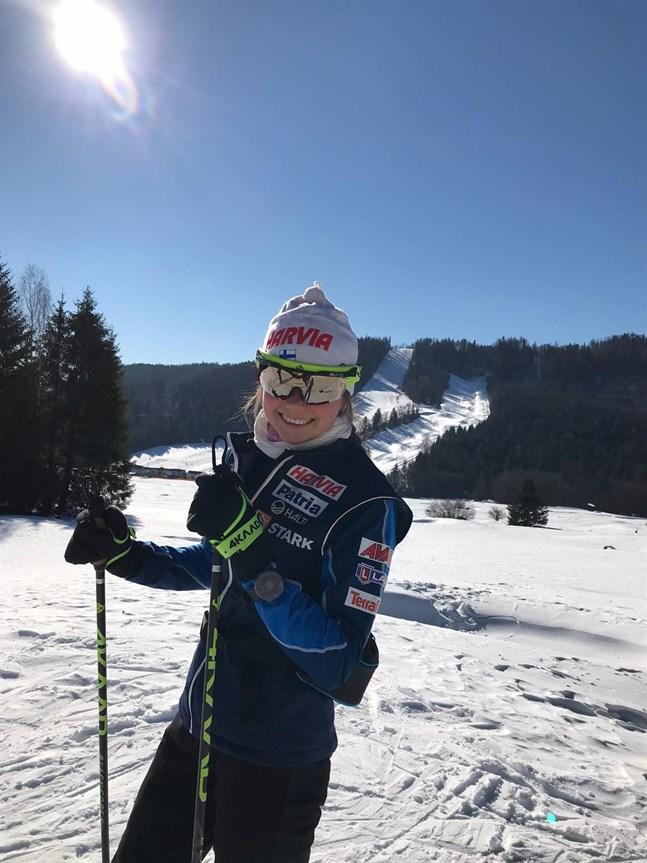 Det är fina förhållanden i Slovakien. Bilden är från tidigare i veckan då det var solsken. På onsdagens normaldistans snöade det enormt.
