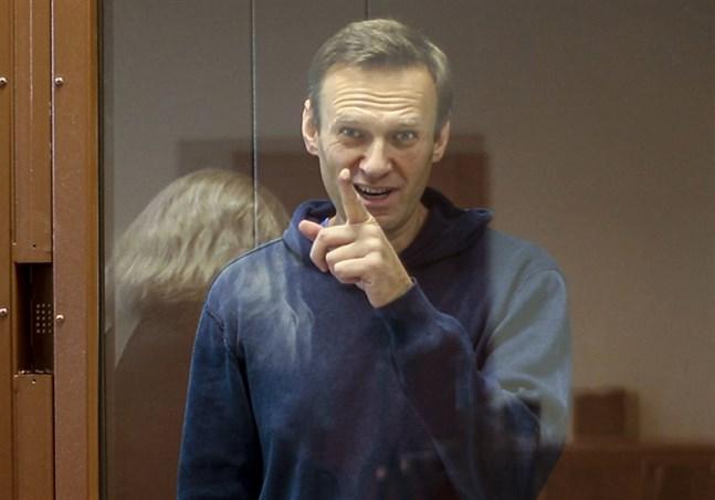 Oppositionspolitikern Aleksej Navalnyj i domstol tidigare i februari.