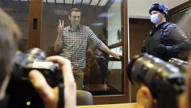 Den ryske oppositionsledaren Aleksej Navalnyj i rätten på lördagen.